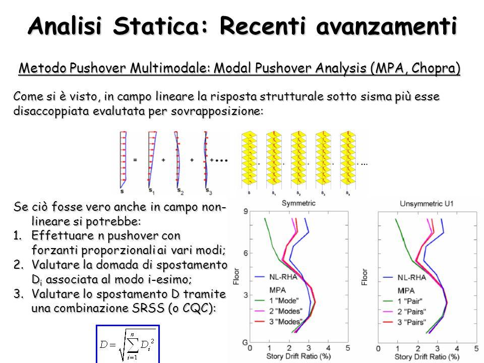 Analisi Statica: Recenti avanzamenti Metodo Pushover Multimodale: Modal Pushover Analysis (MPA, Chopra) Come si è visto, in campo lineare la risposta