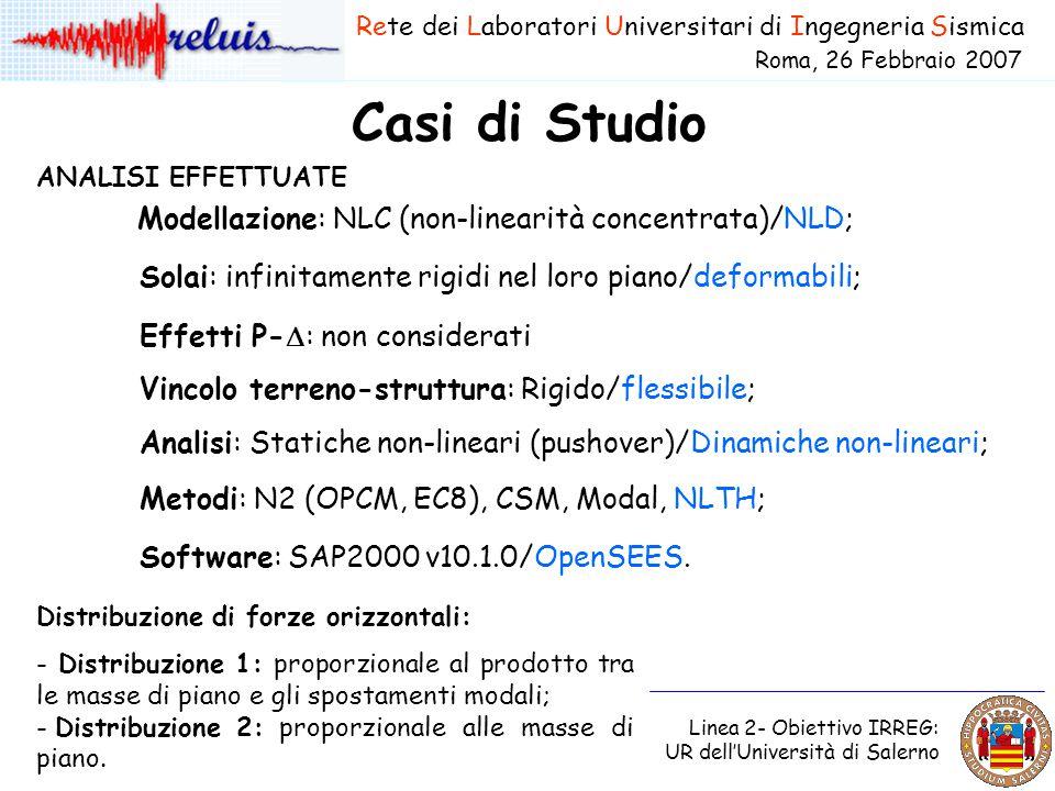 Casi di Studio Rete dei Laboratori Universitari di Ingegneria Sismica Roma, 26 Febbraio 2007 Linea 2- Obiettivo IRREG: UR dell'Università di Salerno A