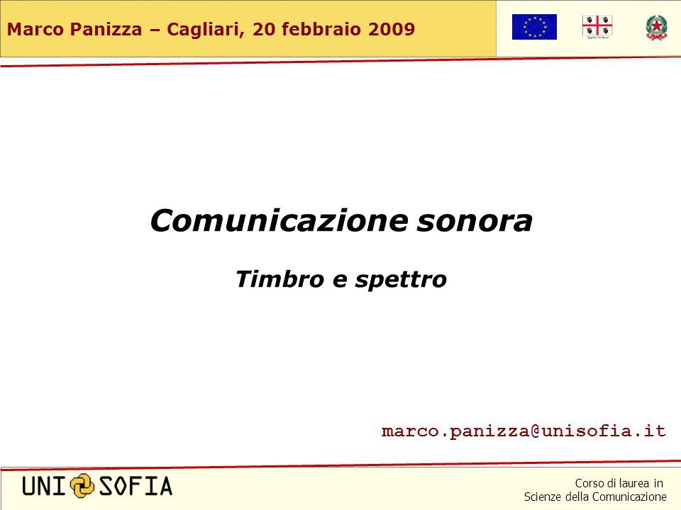 Corso di laurea in Scienze della Comunicazione Marco Panizza – Cagliari, 20 febbraio 2009 Comunicazione sonora Timbro e spettro marco.panizza@unisofia.it