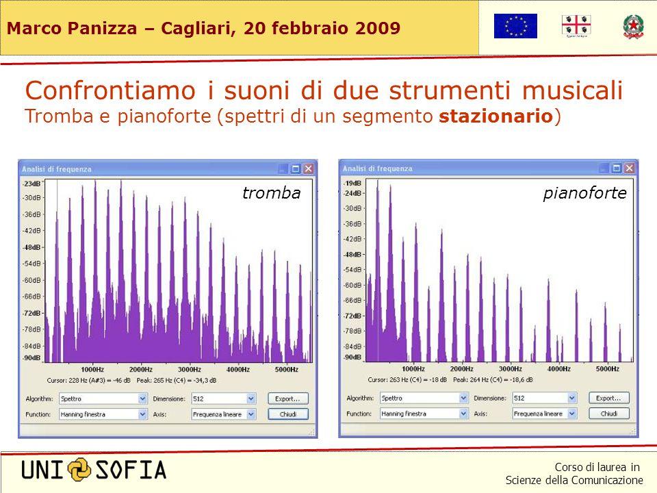 Corso di laurea in Scienze della Comunicazione Marco Panizza – Cagliari, 20 febbraio 2009 Stessa frequenza e stessa altezza (C4) Confrontiamo i suoni di due strumenti musicali Tromba e pianoforte (forme d'onda)
