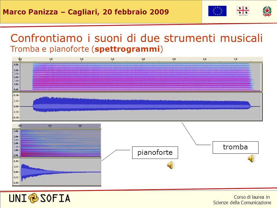 Corso di laurea in Scienze della Comunicazione Marco Panizza – Cagliari, 20 febbraio 2009 pianofortetromba Confrontiamo i suoni di due strumenti music