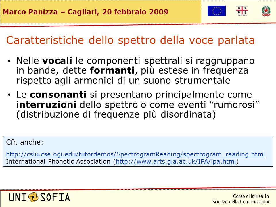Corso di laurea in Scienze della Comunicazione Marco Panizza – Cagliari, 20 febbraio 2009 Spettrogramma tipico di voce parlata