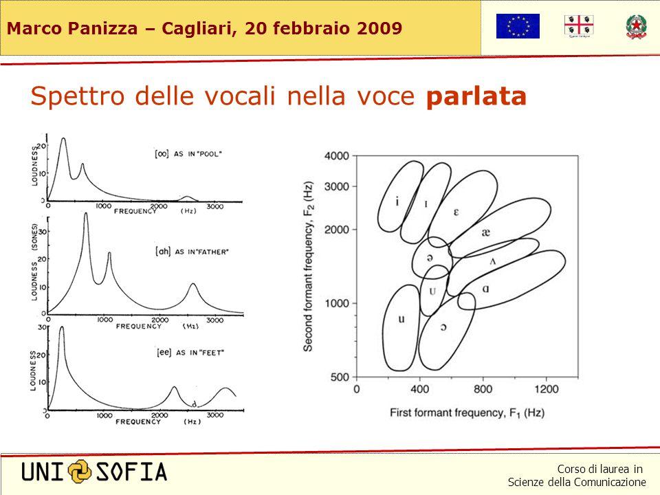 Corso di laurea in Scienze della Comunicazione Marco Panizza – Cagliari, 20 febbraio 2009 Nelle vocali le componenti spettrali si raggruppano in bande
