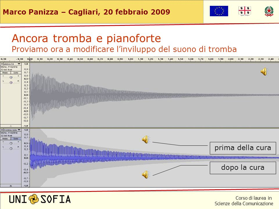 Corso di laurea in Scienze della Comunicazione Marco Panizza – Cagliari, 20 febbraio 2009 Ancora tromba e pianoforte Proviamo a modificare l'inviluppo del suono di pianoforte prima della cura dopo la cura