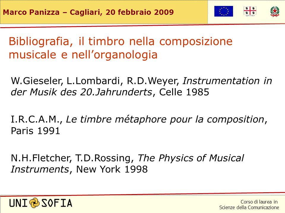 Corso di laurea in Scienze della Comunicazione Marco Panizza – Cagliari, 20 febbraio 2009 Bibliografia, timbro e tamburo hanno un'etimologia comune.