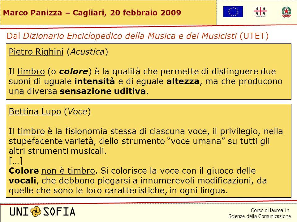 Corso di laurea in Scienze della Comunicazione Marco Panizza – Cagliari, 20 febbraio 2009 Che cosa significa timbro es, en, fr: timbre de: Klangfarbe