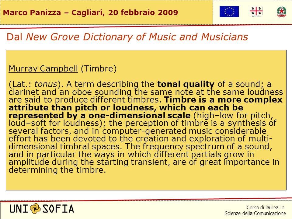 Corso di laurea in Scienze della Comunicazione Marco Panizza – Cagliari, 20 febbraio 2009 Pietro Righini (Acustica) Il timbro (o colore) è la qualità che permette di distinguere due suoni di uguale intensità e di eguale altezza, ma che producono una diversa sensazione uditiva.