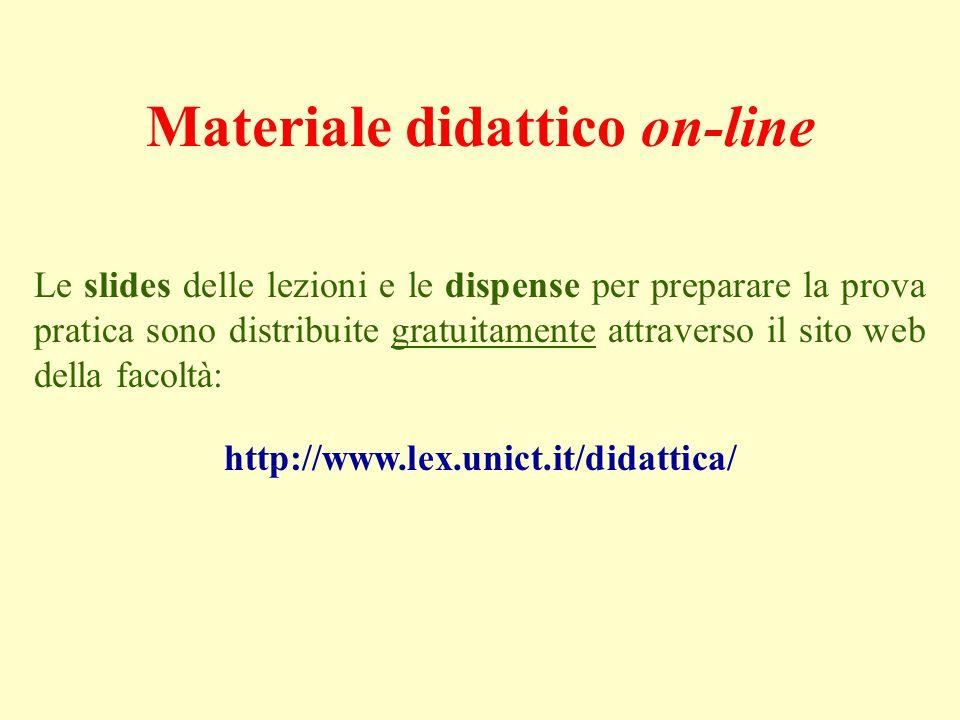 Materiale didattico on-line Le slides delle lezioni e le dispense per preparare la prova pratica sono distribuite gratuitamente attraverso il sito web della facoltà: http://www.lex.unict.it/didattica/