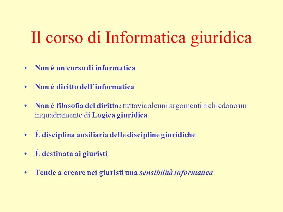 Il corso di Informatica giuridica Non è un corso di informatica Non è diritto dell'informatica Non è filosofia del diritto: tuttavia alcuni argomenti