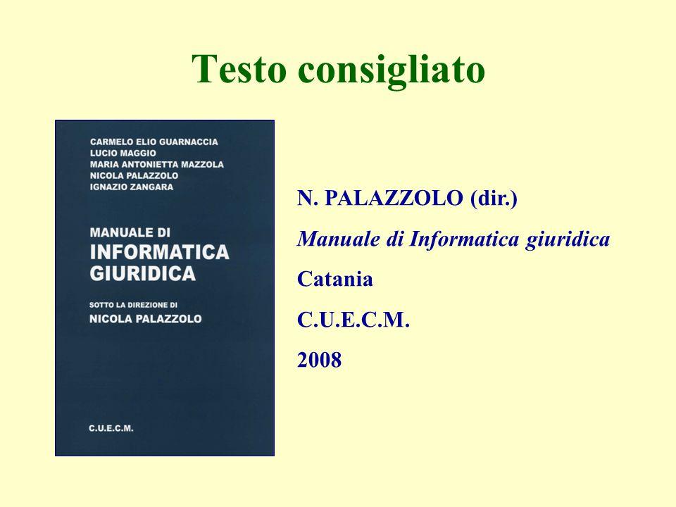 N. PALAZZOLO (dir.) Manuale di Informatica giuridica Catania C.U.E.C.M. 2008 Testo consigliato