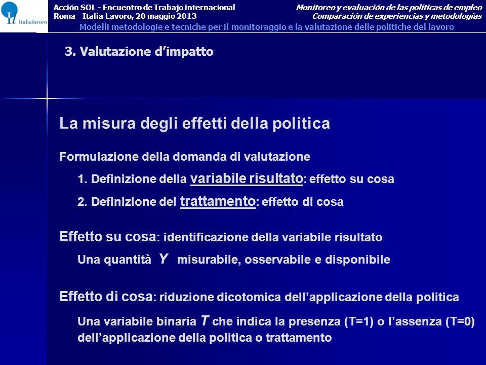 La misura degli effetti della politica Formulazione della domanda di valutazione 1.
