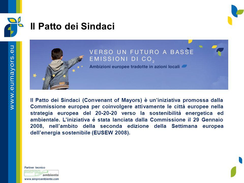 Partner tecnico www.sinproambiente.com Il Patto dei Sindaci Il Patto dei Sindaci (Convenant of Mayors) è un'iniziativa promossa dalla Commissione europea per coinvolgere attivamente le città europee nella strategia europea del 20-20-20 verso la sostenibilità energetica ed ambientale.