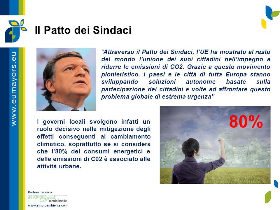 Partner tecnico www.sinproambiente.com Attraverso il Patto dei Sindaci, l'UE ha mostrato al resto del mondo l'unione dei suoi cittadini nell'impegno a ridurre le emissioni di CO2.
