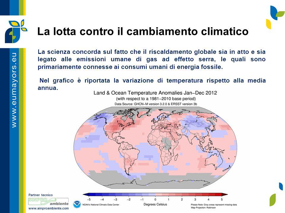 Partner tecnico www.sinproambiente.com La lotta contro il cambiamento climatico La scienza concorda sul fatto che il riscaldamento globale sia in atto e sia legato alle emissioni umane di gas ad effetto serra, le quali sono primariamente connesse ai consumi umani di energia fossile.