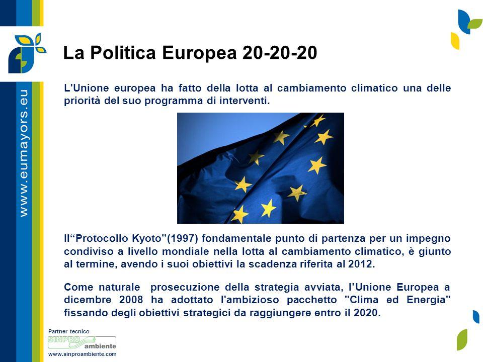 Partner tecnico www.sinproambiente.com La Politica Europea 20-20-20 Con la Direttiva 2009/29/CE la Comunità Europea ha reso obbligatorio il raggiungimento di tre obiettivi attraverso un programma definito Pacchetto 20-20-20 .