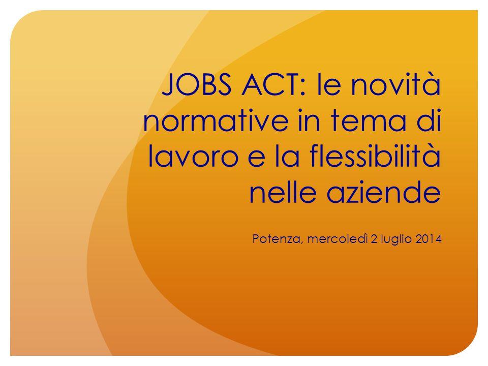 JOBS ACT: le novità normative in tema di lavoro e la flessibilità nelle aziende Potenza, mercoledì 2 luglio 2014