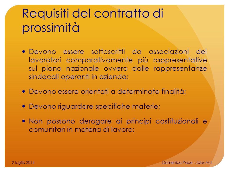 Requisiti del contratto di prossimità Devono essere sottoscritti da associazioni dei lavoratori comparativamente più rappresentative sul piano naziona