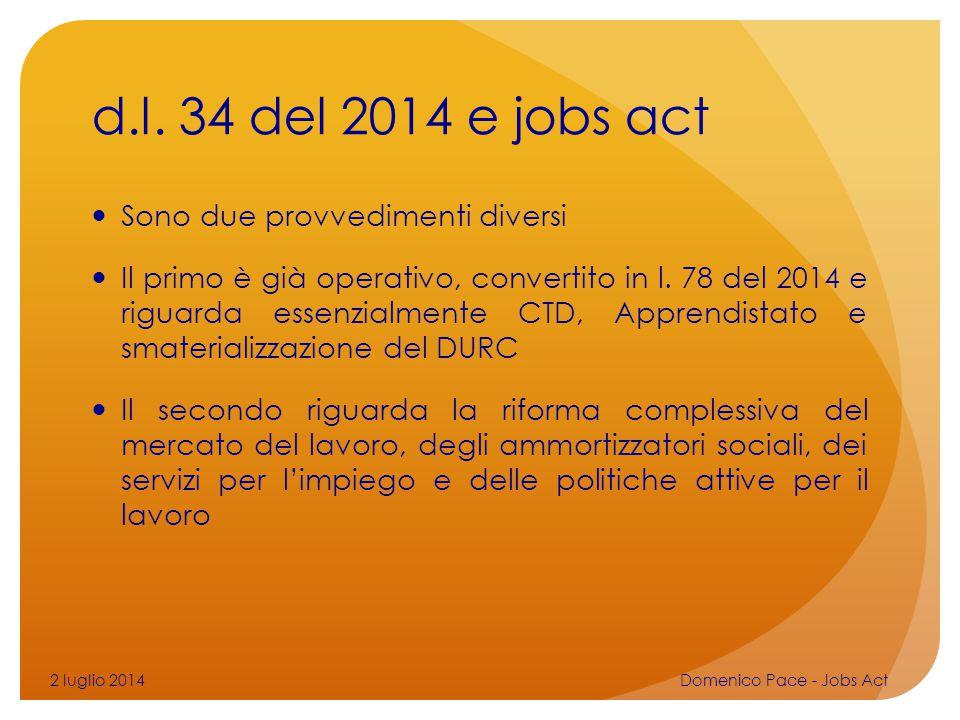 d.l. 34 del 2014 e jobs act Sono due provvedimenti diversi Il primo è già operativo, convertito in l. 78 del 2014 e riguarda essenzialmente CTD, Appre