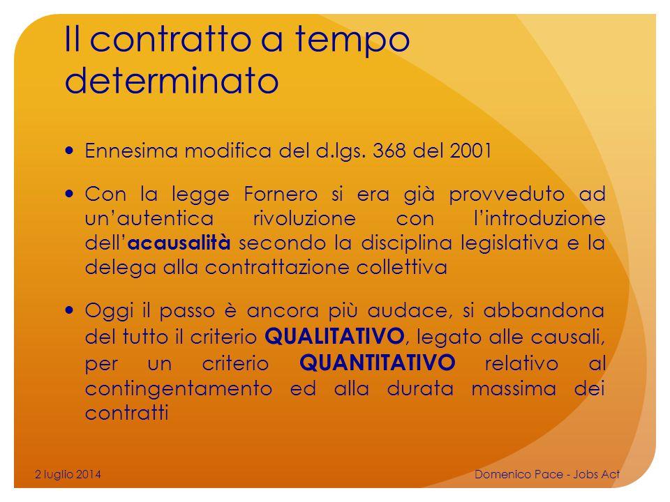Il contratto a tempo determinato Ennesima modifica del d.lgs. 368 del 2001 Con la legge Fornero si era già provveduto ad un'autentica rivoluzione con