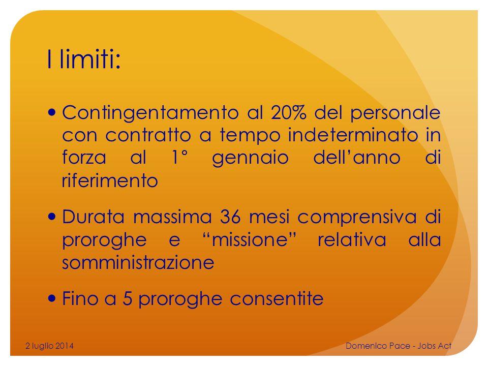 I limiti: Contingentamento al 20% del personale con contratto a tempo indeterminato in forza al 1° gennaio dell'anno di riferimento Durata massima 36