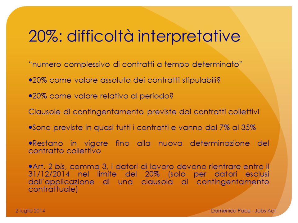 """20%: difficoltà interpretative """"numero complessivo di contratti a tempo determinato"""" 20% come valore assoluto dei contratti stipulabili? 20% come valo"""