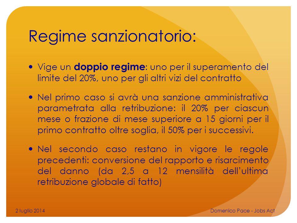Regime sanzionatorio: Vige un doppio regime : uno per il superamento del limite del 20%, uno per gli altri vizi del contratto Nel primo caso si avrà u
