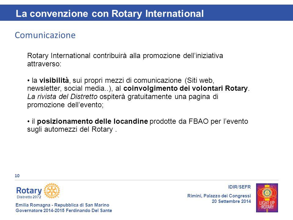 Emilia Romagna - Repubblica di San Marino Governatore 2014-2015 Ferdinando Del Sante Distretto 2072 10 IDIR/SEFR Rimini, Palazzo dei Congressi 20 Sett