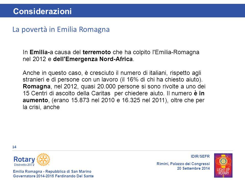 Emilia Romagna - Repubblica di San Marino Governatore 2014-2015 Ferdinando Del Sante Distretto 2072 14 IDIR/SEFR Rimini, Palazzo dei Congressi 20 Sett