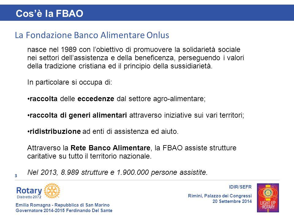 Emilia Romagna - Repubblica di San Marino Governatore 2014-2015 Ferdinando Del Sante Distretto 2072 3 IDIR/SEFR Rimini, Palazzo dei Congressi 20 Sette
