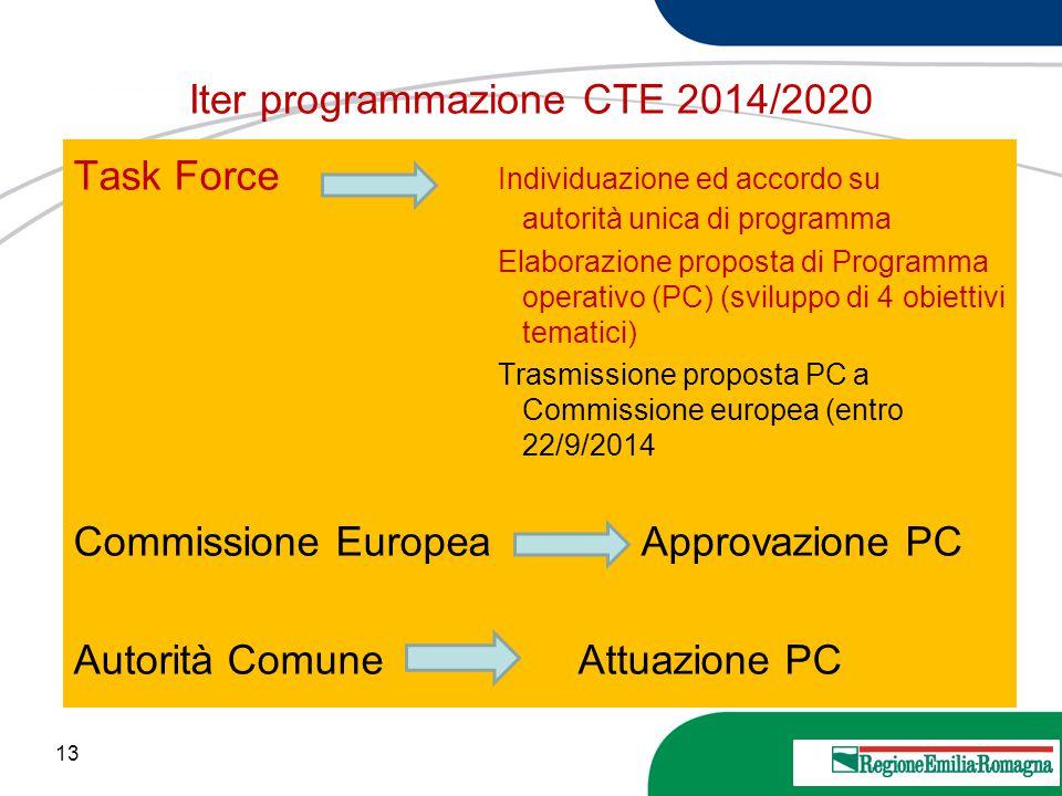 13 20 Marzo 2013 Iter programmazione CTE 2014/2020 Task Force Individuazione ed accordo su autorità unica di programma Elaborazione proposta di Progra