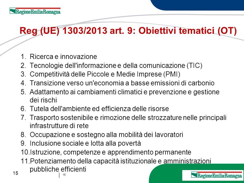 15 20 Marzo 2013 │ 15 Reg (UE) 1303/2013 art. 9: Obiettivi tematici (OT) 1.Ricerca e innovazione 2.Tecnologie dell'informazione e della comunicazione