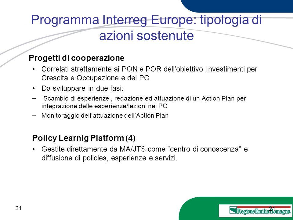21 20 Marzo 2013 Programma Interreg Europe: tipologia di azioni sostenute Progetti di cooperazione Correlati strettamente ai PON e POR dell'obiettivo