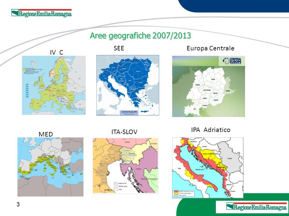 3 20 Marzo 2013 IV C SEEEuropa Centrale MED ITA-SLOV IPA Adriatico Aree geografiche 2007/2013 Aree geografiche 2007/2013
