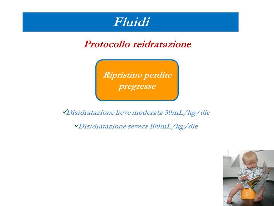 Fluidi Protocollo reidratazione Disidratazione lieve moderata 50mL/kg/die Disidratazione severa 100mL/kg/die Ripristino perdite pregresse