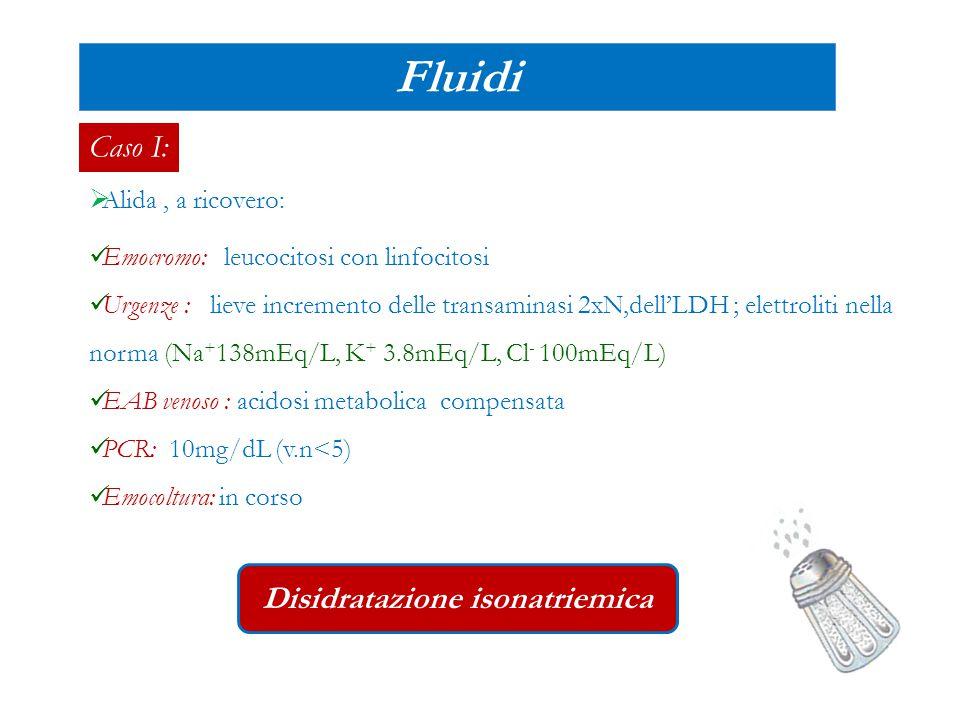 Caso I:  Alida, a ricovero: Fluidi Emocromo: leucocitosi con linfocitosi Urgenze : lieve incremento delle transaminasi 2xN,dell'LDH ; elettroliti nel