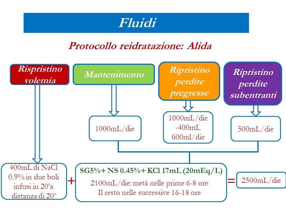 Mantenimento Ripristino perdite pregresse Ripristino perdite subentranti Fluidi Protocollo reidratazione: Alida Rispristino volemia 400mL di NaCl 0.9%