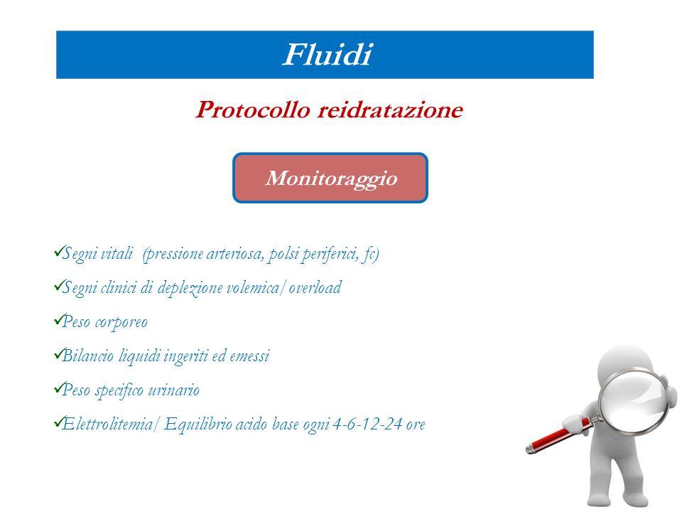 Fluidi Protocollo reidratazione Monitoraggio Segni vitali (pressione arteriosa, polsi periferici, fc) Segni clinici di deplezione volemica/overload Pe