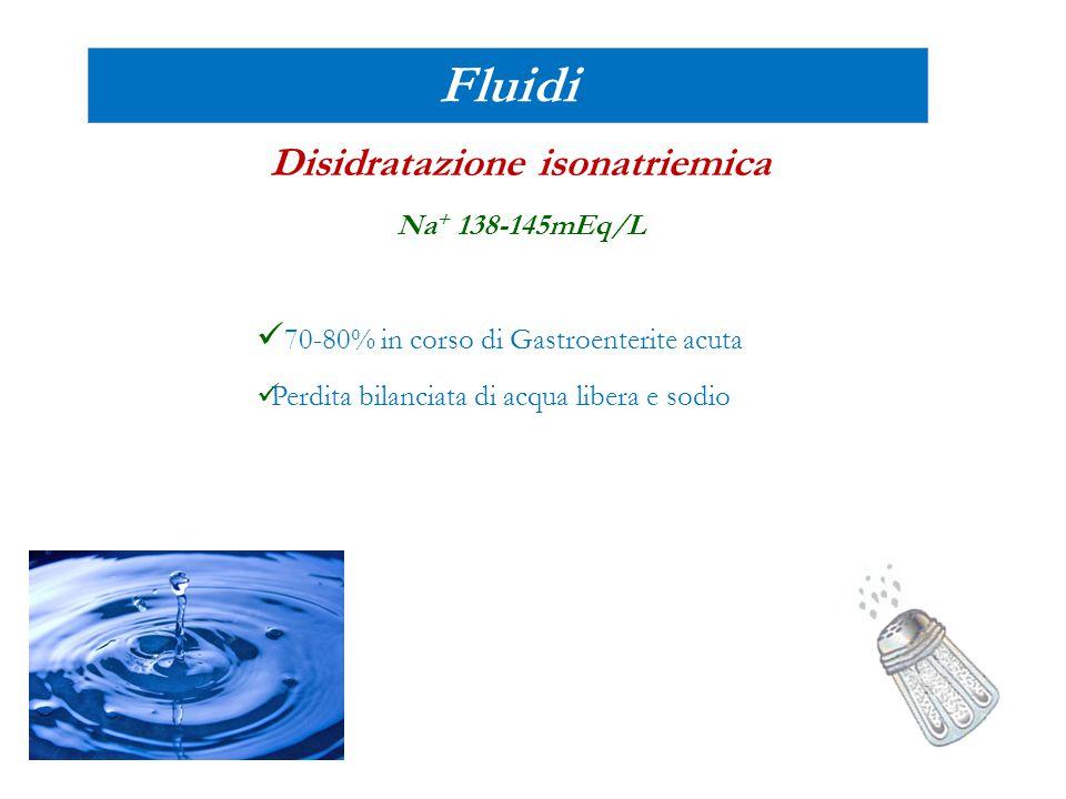 Fluidi Disidratazione isonatriemica Na + 138-145mEq/L 70-80% in corso di Gastroenterite acuta Perdita bilanciata di acqua libera e sodio