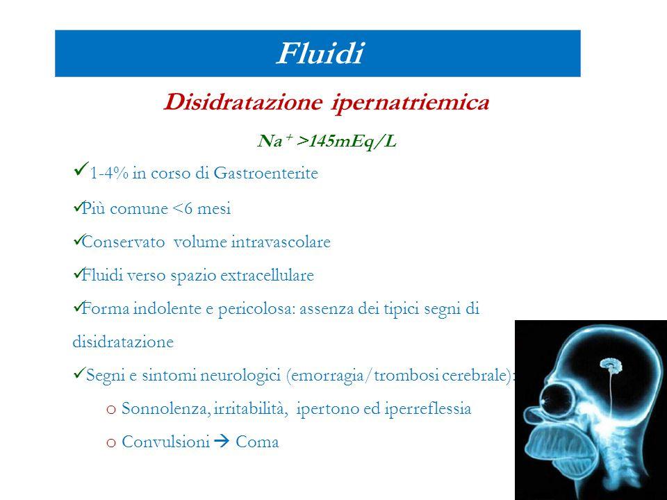 Fluidi Disidratazione ipernatriemica Na + >145mEq/L 1-4% in corso di Gastroenterite Più comune <6 mesi Conservato volume intravascolare Fluidi verso s