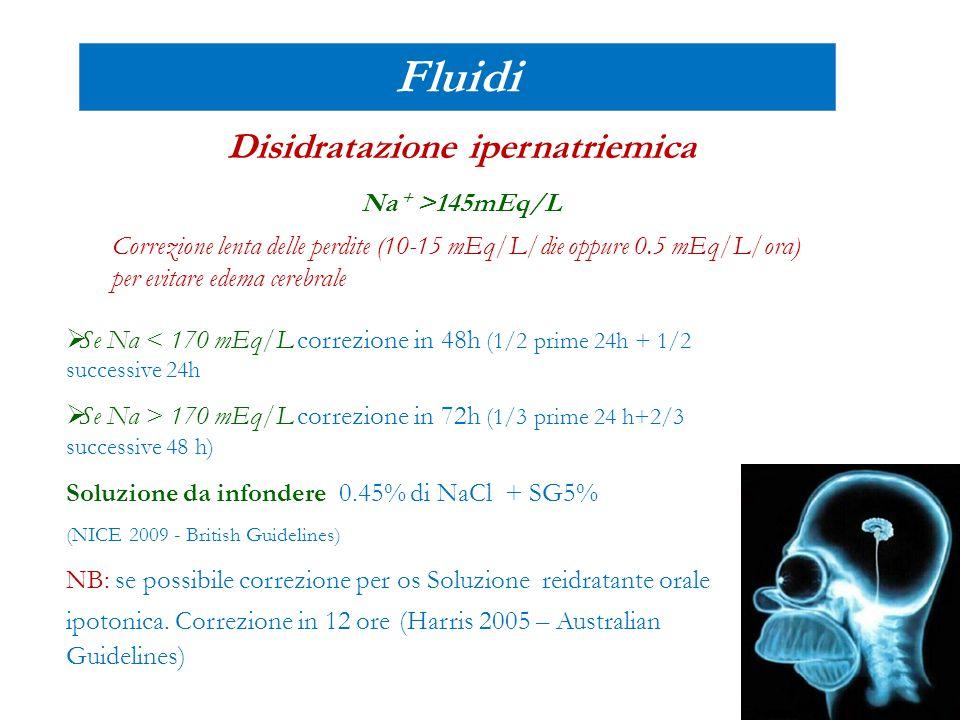 Fluidi Disidratazione ipernatriemica Na + >145mEq/L  Se Na < 170 mEq/L correzione in 48h (1/2 prime 24h + 1/2 successive 24h  Se Na > 170 mEq/L corr