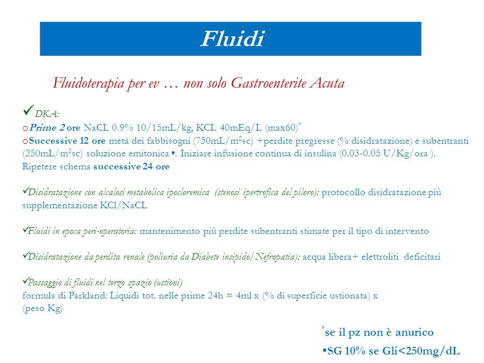 Fluidi Fluidoterapia per ev … non solo Gastroenterite Acuta DKA: o Prime 2 ore NaCL 0.9% 10/15mL/kg, KCL 40mEq/L (max60) ° o Successive 12 ore metà de