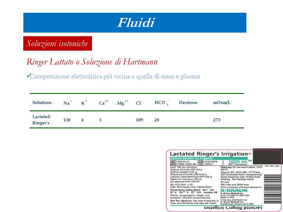 Mantenimento Peso (Kg)mL/kg/die mL/kg/hour 0 -10 Kg100 ml /Kg 4mL/kg/h 10 – 20 Kg1000 ml + 20+ 50 ml/Kg per ogni Kg >10 (2xkg) mL/h > 20 Kg1500 ml + 40+ 20 ml/Kg per ogni Kg >20 (1xkg) mL/h Ripristino perdite pregresse Ripristino perdite subentranti Fluidi Protocollo reidratazione Metodo di Holliday-Segar (1957) Rispristino volemia  Urine  Perdite insensibili (cute, apparato respiratorio)  Feci