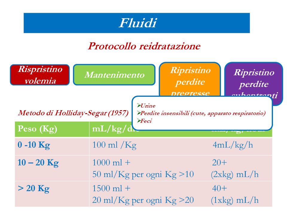 Mantenimento Ripristino perdite pregresse Ripristino perdite subentranti Fluidi Protocollo reidratazione: Alida Rispristino volemia 400mL di NaCl 0.9% in due boli infusi in 20'a distanza di 20' 1000mL/die -400mL 600ml/die 500mL/die + 2500mL/die = 2100mL/die: metà nelle prime 6-8 ore Il resto nelle successive 16-18 ore SG5%+ NS 0.45%+ KCl 17mL (20mEq/L)