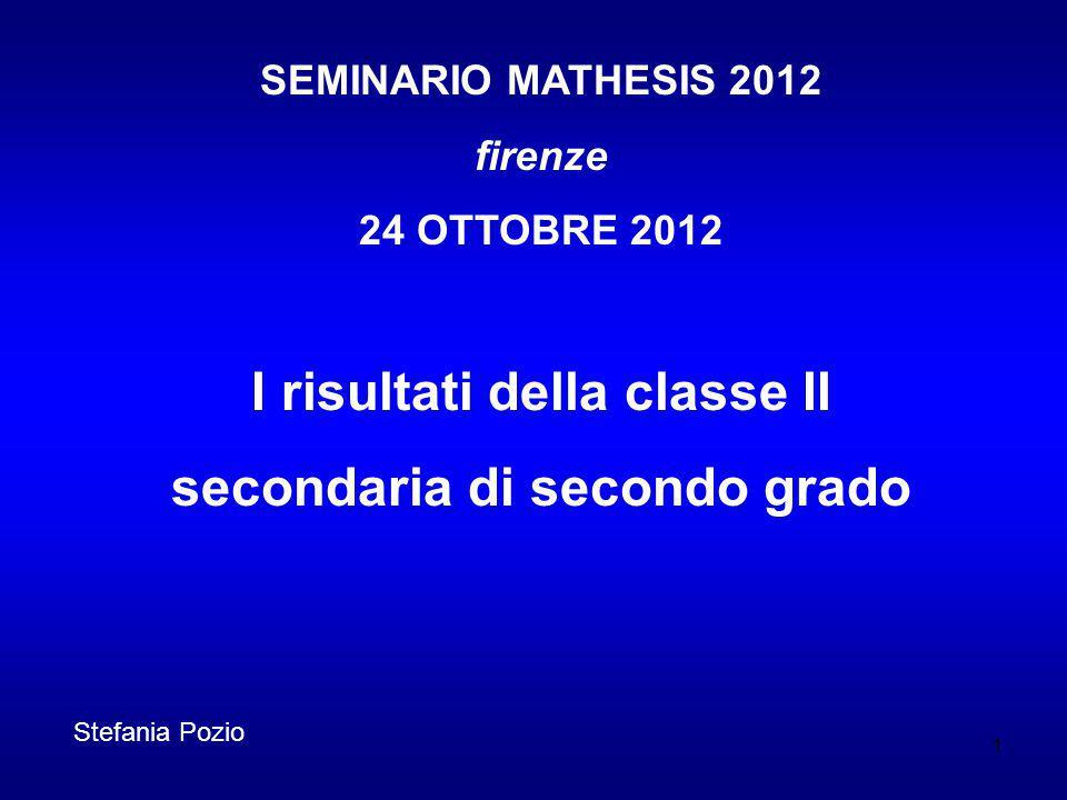 SEMINARIO MATHESIS 2012 firenze 24 OTTOBRE 2012 I risultati della classe II secondaria di secondo grado 1 Stefania Pozio