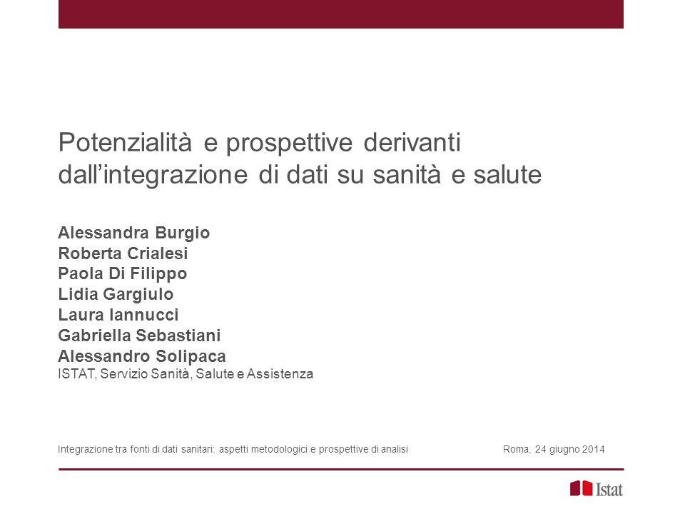 Potenzialità e prospettive derivanti dall'integrazione di dati su sanità e salute Alessandra Burgio Roberta Crialesi Paola Di Filippo Lidia Gargiulo L