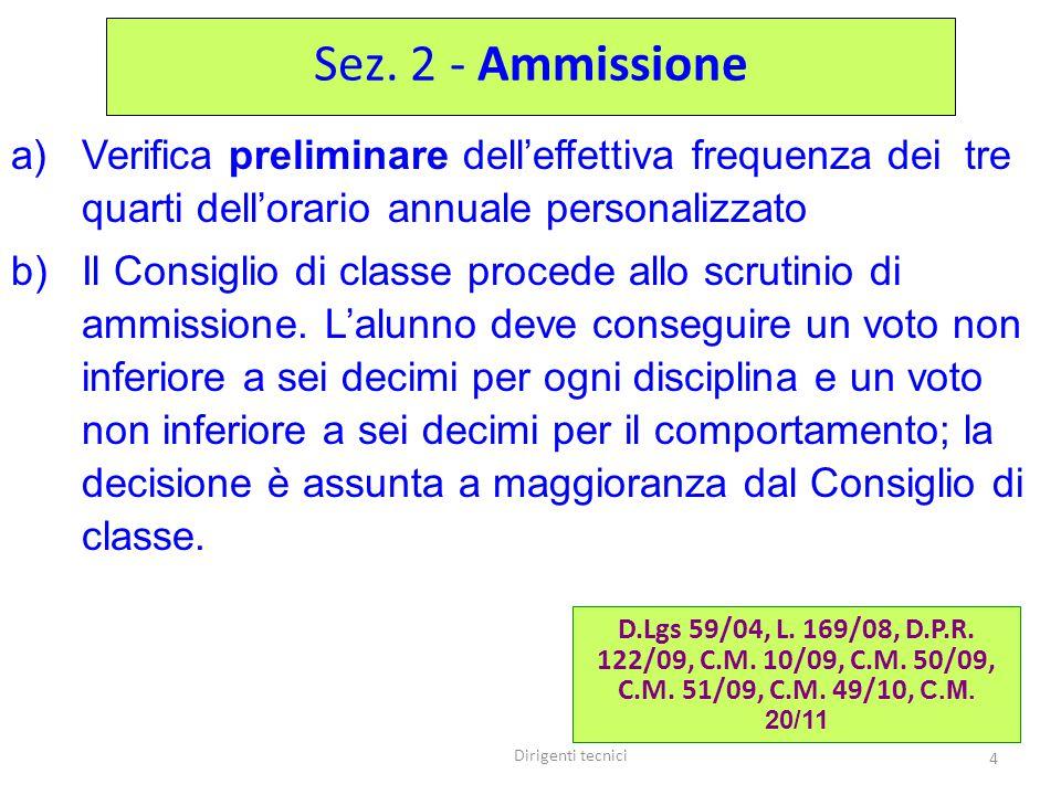 Dirigenti tecnici 4 a)Verifica preliminare dell'effettiva frequenza dei tre quarti dell'orario annuale personalizzato b)Il Consiglio di classe procede allo scrutinio di ammissione.