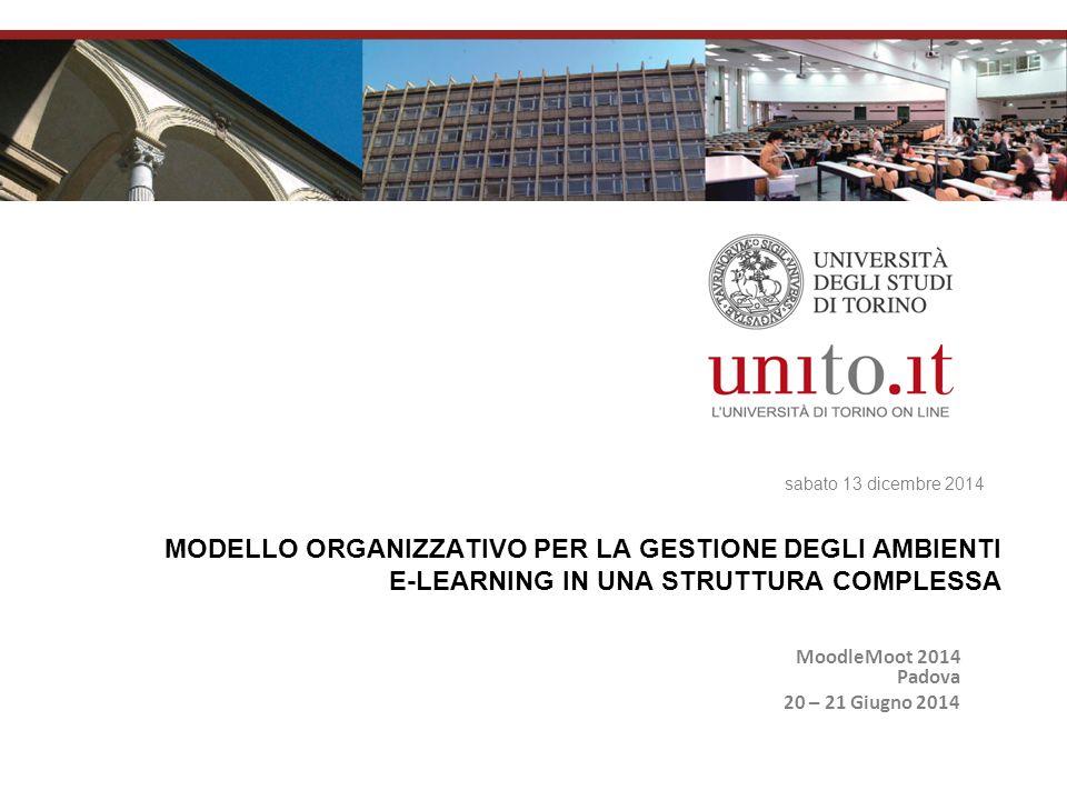 sabato 13 dicembre 2014 MODELLO ORGANIZZATIVO PER LA GESTIONE DEGLI AMBIENTI E-LEARNING IN UNA STRUTTURA COMPLESSA MoodleMoot 2014 Padova 20 – 21 Giugno 2014