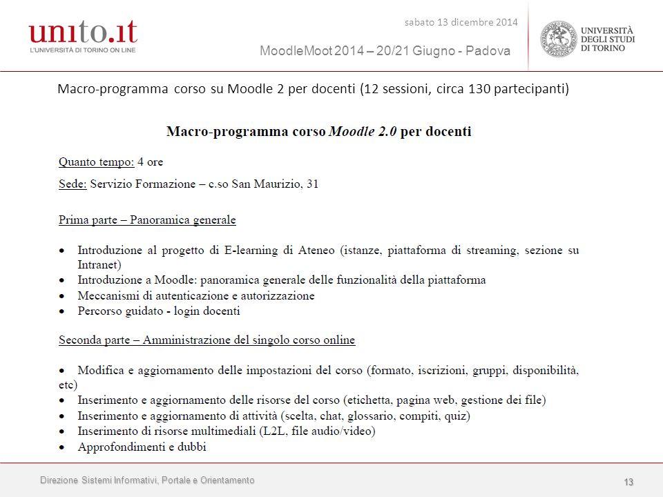 Direzione Sistemi Informativi, Portale e Orientamento sabato 13 dicembre 2014 MoodleMoot 2014 – 20/21 Giugno - Padova 1313 Macro-programma corso su Moodle 2 per docenti (12 sessioni, circa 130 partecipanti)