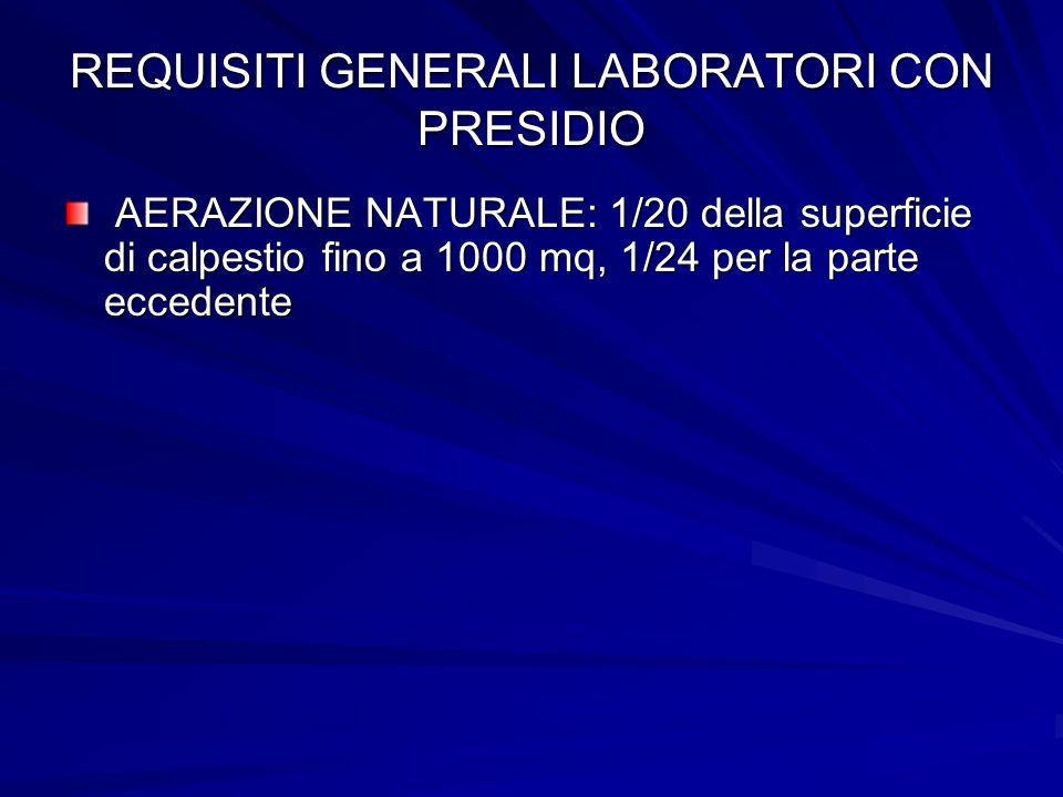 REQUISITI GENERALI LABORATORI CON PRESIDIO AERAZIONE NATURALE: 1/20 della superficie di calpestio fino a 1000 mq, 1/24 per la parte eccedente AERAZION