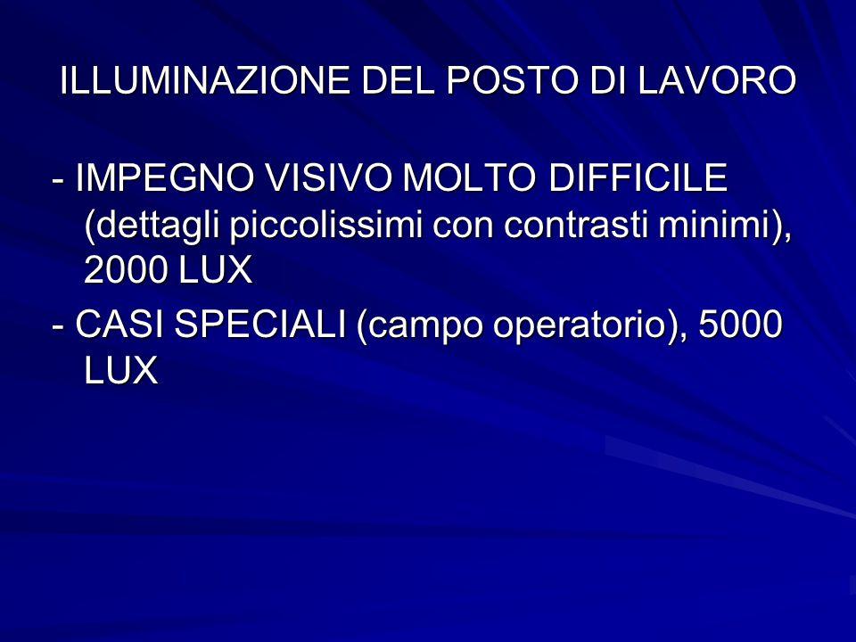 ILLUMINAZIONE DEL POSTO DI LAVORO - IMPEGNO VISIVO MOLTO DIFFICILE (dettagli piccolissimi con contrasti minimi), 2000 LUX - CASI SPECIALI (campo opera